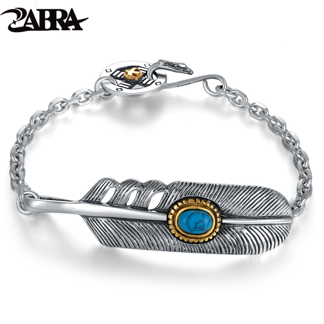 Zabra 925 Sterling Silver Fashion Zircon Stone Feather Bracelet Bangle Men Women Vintage Punk Rock Handmade