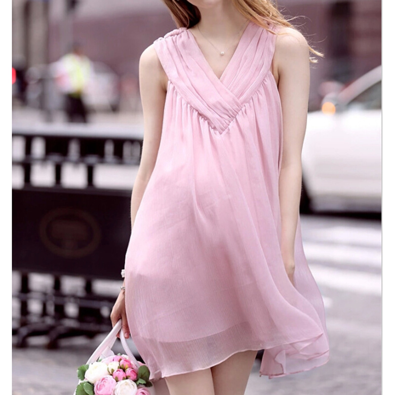 HI BlOOM 2017 New Pink Knee Length Maternity Loose Dress V-Neck Comfortable Clothes For Pregnant Women Gestante Hot Freeshipping