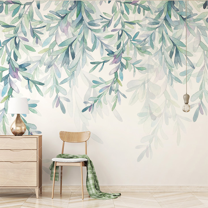 Custom Photo Mural Wallpaper Modern Green Leaves Watercolor Nordic Style Fresco Living Room Tv Bedroom Tapety Home Decor In Wallpapers From