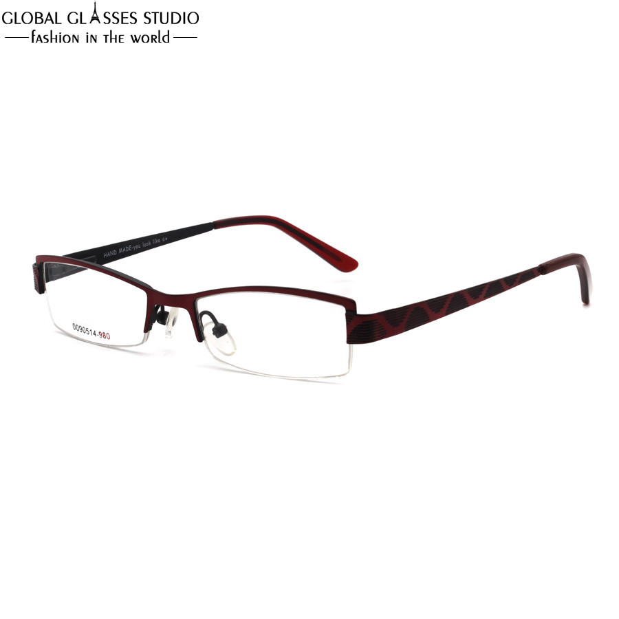c4dc7600cc High Quality Kids  Half Rimless Optical Red and Black Stainless ...