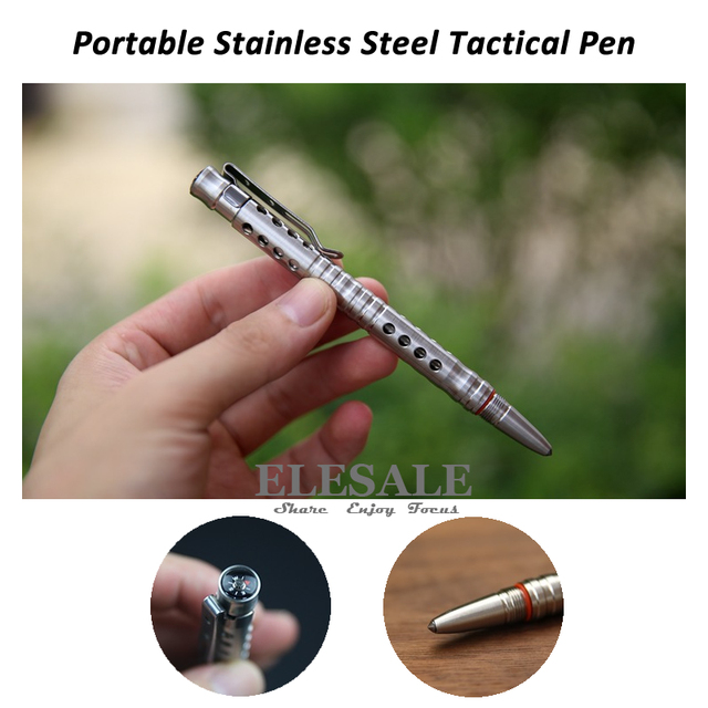 New Portable Self Defense Stainless Steel Tactical Pen With Compass Tungsten Steel Head Emergency Glass Breaker EDC Tool