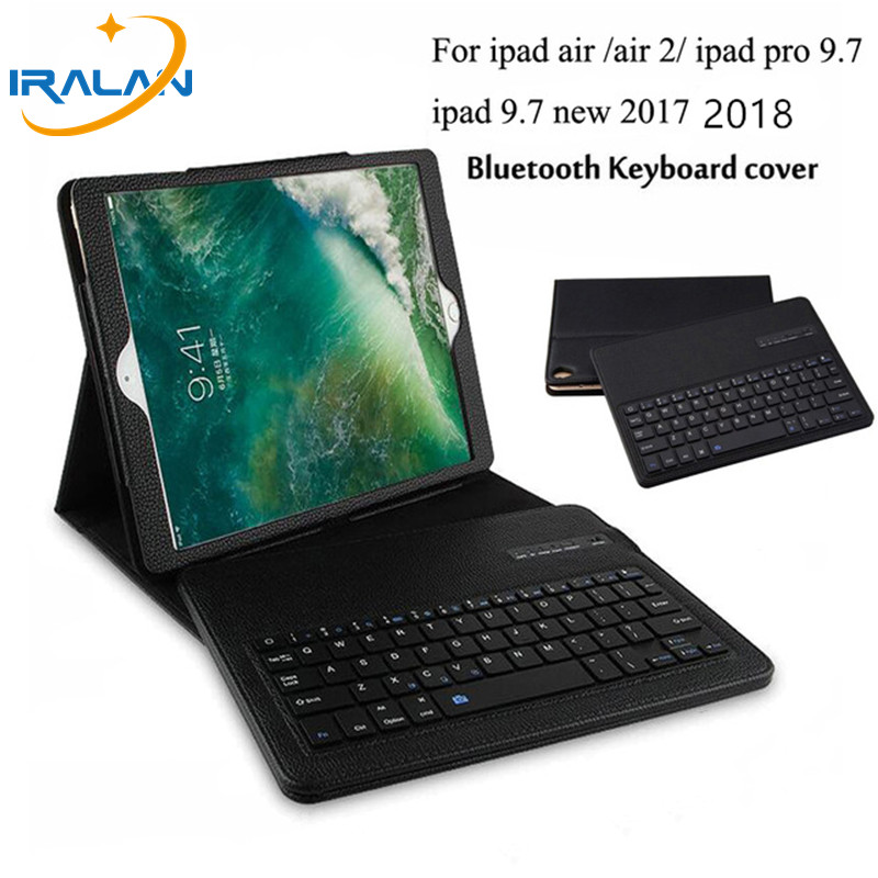 New For ipad 9.7 2018 2017 Detachable ABS Bluetooth Keyboard PU Leather Case Cover For iPad 5 6 Pro 9.7 Air / Air 2 +film+pen for ipad pro 12 9 keyboard case magnetic detachable wireless bluetooth keyboard cover folio pu leather case for ipad 12 9 cover