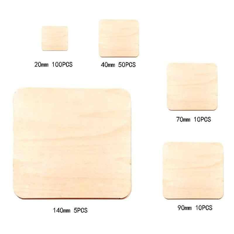 Quadrados Peças de Madeira Modelo de Construção de Placa Em Branco para DIY Ofício Scrapbooking