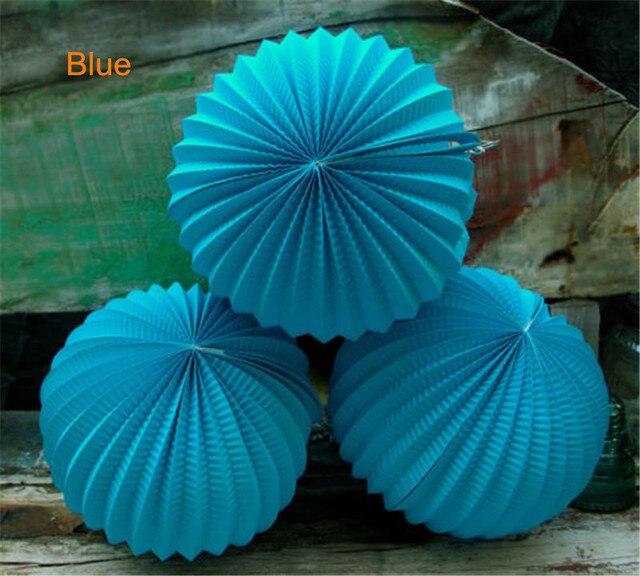 5pcs/lot 10inch(25cm) Japanese Blue Paper Accordion Lanterns Wedding Bridal  Baby Shower Nice Ideas