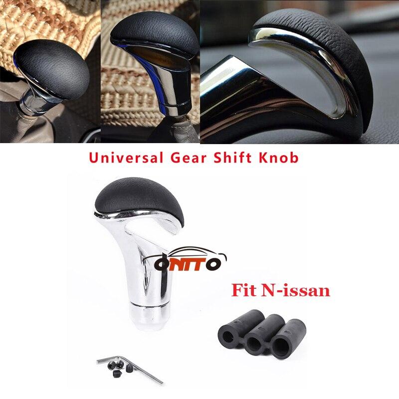 Car accessories For Nissan Teana Sylphy Qashqai Livina Tiida Cube Juke Metal Car Gear Shift Knob Leather Chrome 1pcs/lot