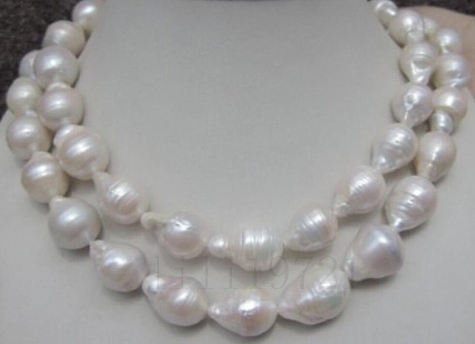 HUGE 12-18MM NATURAL SOUTH SEA WHITE BAROQUE PEARL NECKLACE 33 INCHES18K GP style Fine jewe Noble Natural jade FREE SHIPPING
