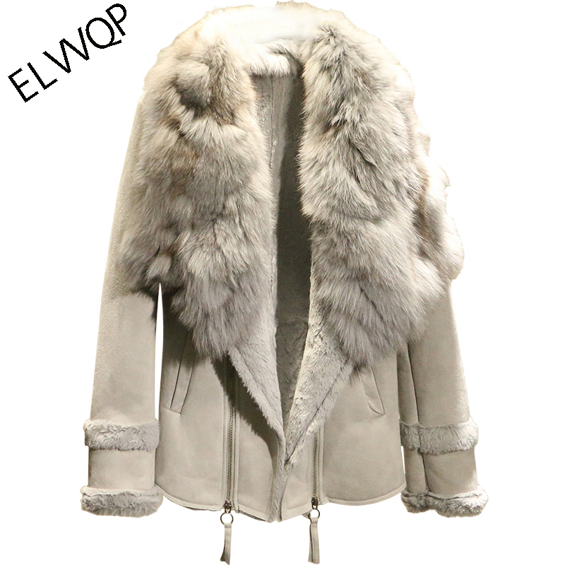 High quality 2018 New Autumn Winter   Suede     Leather   Jacket Women Long sleeve Jacket Thick Real fox fur collar Warm Coat LF857