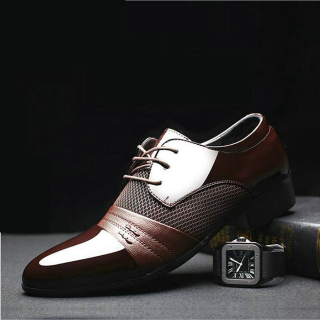 New Fashion Man Casual Party Shoes Men's Lace-Up Oxfords Dress Shoes Mens PU Leather Business Office Wedding Shoes LD-98