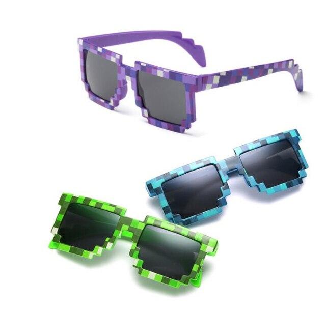 5 cores! óculos de Sol da moda Crianças cos jogar Jogo de ação Brinquedos Minecrafter Óculos Quadrados com caso EVA para as crianças presentes