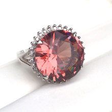 CSJ Big Stone 13CT Zultanite Ring Sterling 925 Silver 15MM Round Cut Created Sultanite Fine Jewelry Women Wedding Party Gift