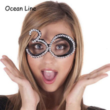 Funny No.30th Crystal Diamond Decorated Birthday Party Glasses Novelty Mask for Birthday Gifts and Party Supplies Decoration
