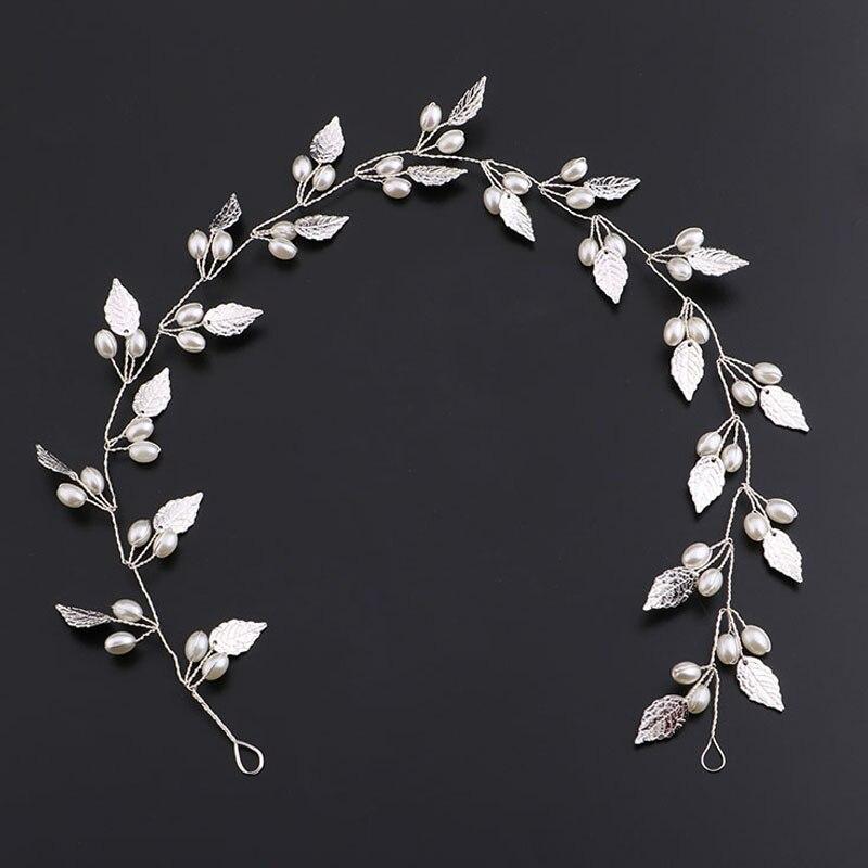 Oro perla hoja diadema banda para el cabello tiaras y coronas casco - Bisutería - foto 5