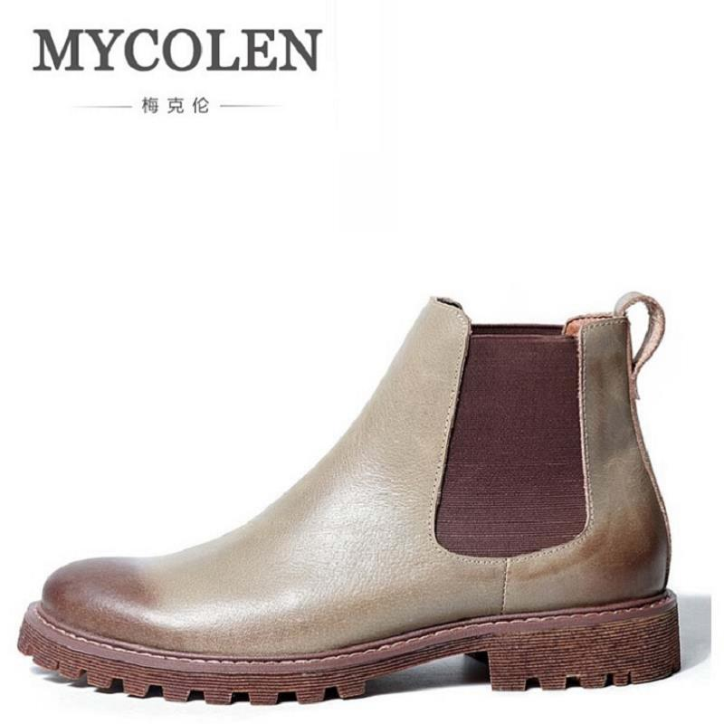 MYCOLEN Luxury Brand Genuine Leather Winter Boots Shoes Men Brown Black High Quality Comfortable Leather Shoe Khaki Laarzen maden brand 2017 ner fashion brown men boots comfortable high quality leather boots british style heighten tooling boots