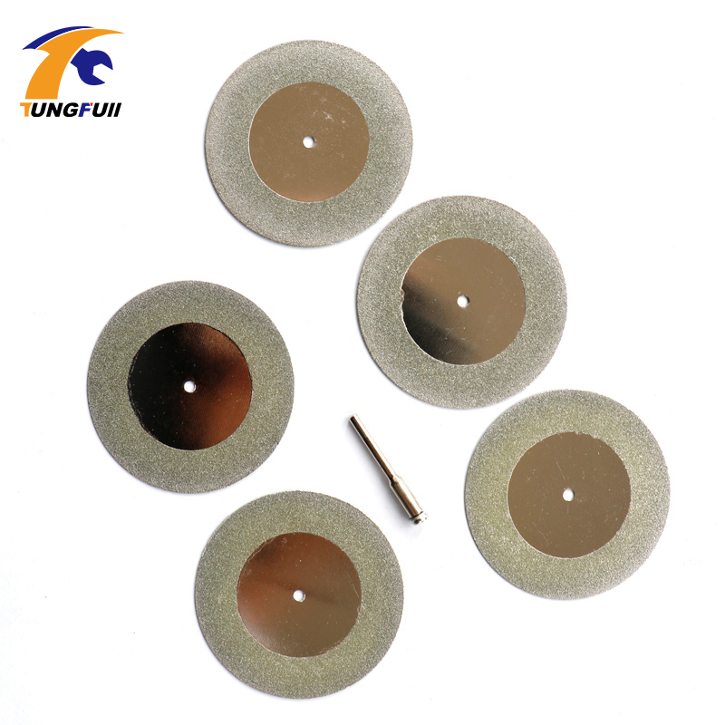 High Hardness 5pcs 50mm MINI Generic Diamond Coated Cutting Discs For Dremel Rotary Tools blade wheels disc 5pc high quality emery diamond coated double side cutting discs cut off blade grinding disc for dremel rotary tools 1 mandrel