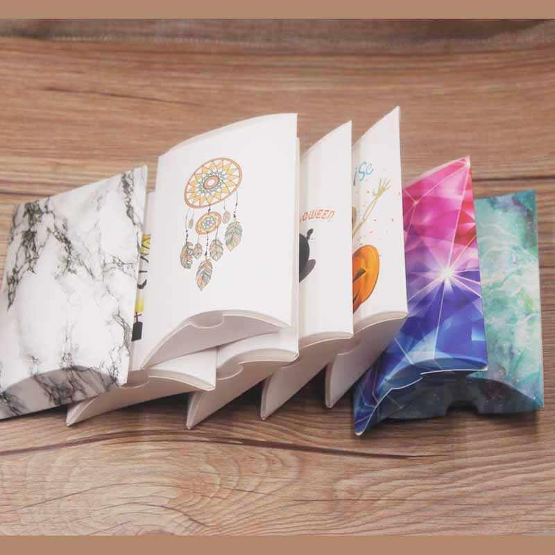 VINTAGE kraft กล่องหมอนสำหรับช็อกโกแลตคุกกี้ใหม่งานแต่งงาน Baby Shower กระดาษขนาดใหญ่หมอนของขวัญกล่องบรรจุภัณฑ์