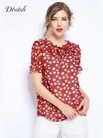 Diwish Women Chiffon Plus Size Red Blouse 2019 Summer 5XL Korean Style Short Sleeved Sweet Floral Print Vintage Ruffles Top