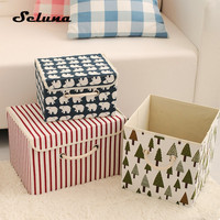 Seluna 3pcs Foldable Cotton Storage Boxes with Lid Waterproof Canvas Linen Bins Laundry Box Toy Clothes Storage Basket Organizer