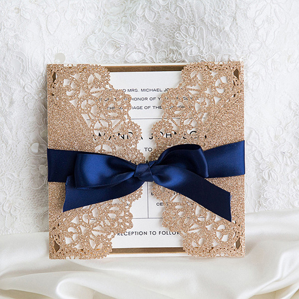 Luxurious Rose Gold And Navy Blue Ribbon Glitter Wedding Invitations