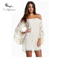 7 Attract Lace Long Sleeve 2016 Autumn Party Cream Off The Shoulder Loose Mini Dress Vestido