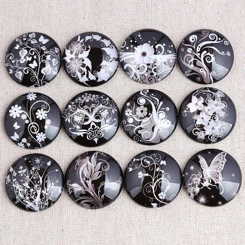 onwear Mix white flower photo round glass cabochon 12mm 14mm 18mm 20mm 25mm 30mm diy flat back handmade jewelry findings