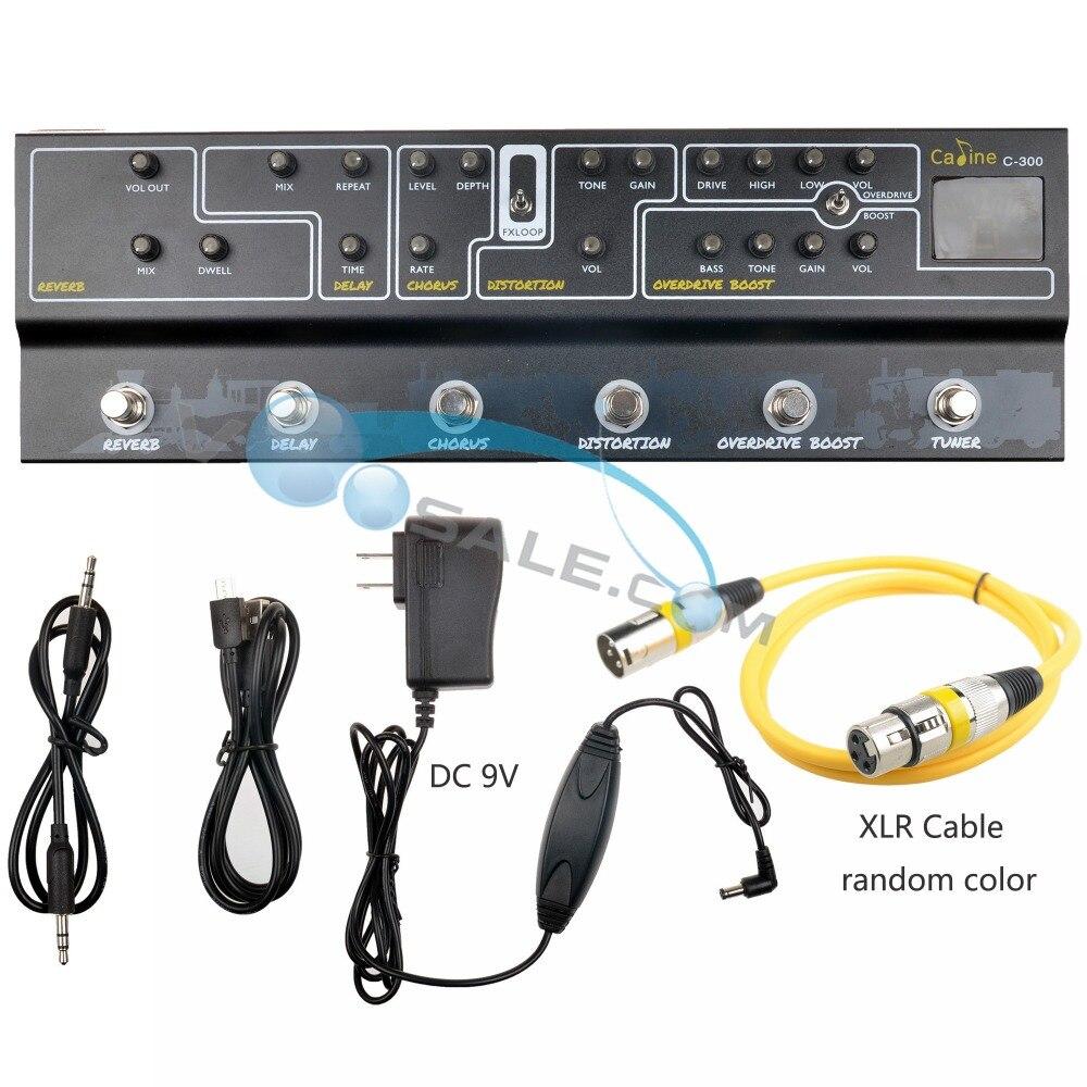 Caline C300 Multi Effets Pédale 9 V Tuner de Modélisation D'ampli Guitare Pédale Effet Guitare Accessoires Guitare Pièces Avec XLR Audio câble