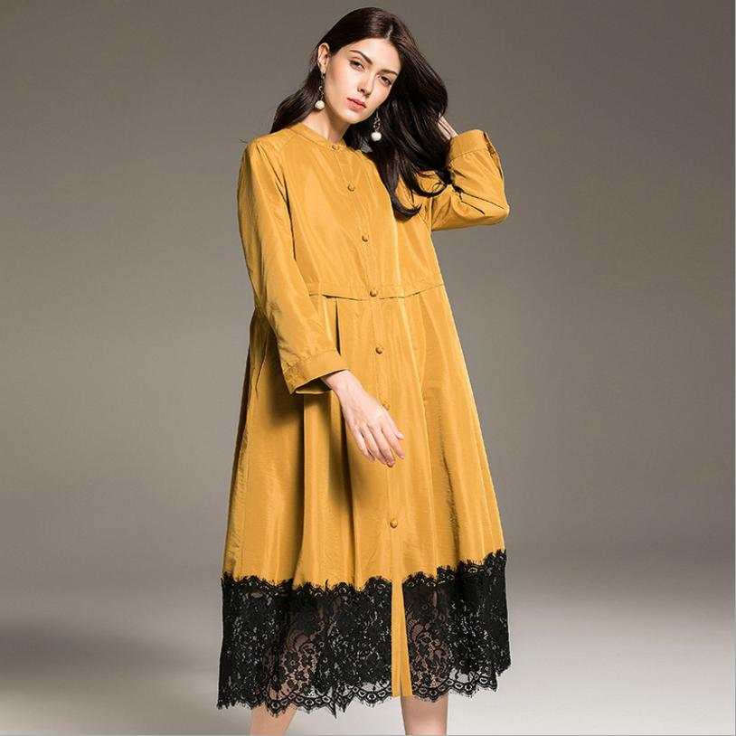 Autumn fashion new lace stitching plus size windbreaker coat female single-breasted casual loose oversize   trench   outwear L1259