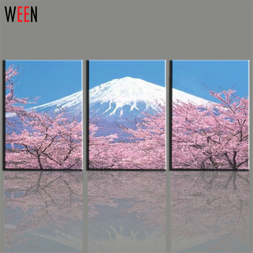 Modern 3 Panel Japanese Mount Canvas Wall Art For Living Romm Home  Decoration Fuji Cherry Blossom Part 40