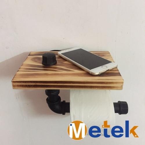 Wall Towel Rack Shelf Bracket Solid Wood Panel Bathroom Toilet Hook Br