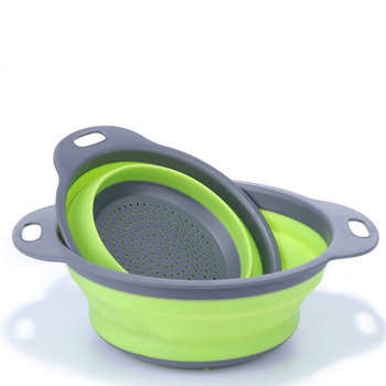 Kitchen Tool 2pcs/set Foldable Silicone Colander Fruit Vegetable Washing Basket Strainer Collapsible Drainer With Handle
