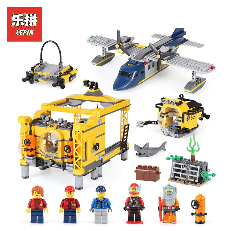 Lepin 02088 The Deep Sea Opearation Base Set LegoINGlys 60096 City Series model Building Blocks Bricks toys For Children gifts lepin 02006 815pcs city series police sea prison island model building blocks bricks toys for children gift 60130