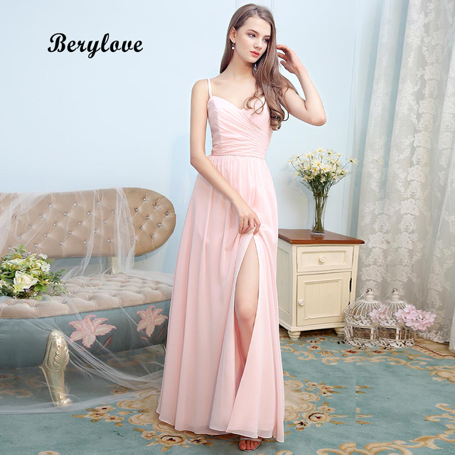 7e2313bcd1e BeryLove Simple Light Pink Chiffon Evening Dresses Spaghetti Straps Slit Long  Prom Dresses 2018 Formal Evening Dress Party Gowns