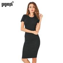 5ecaa665297 Gagaopt летние платья женские 95% хлопок до колена облегающее офисное платье  с коротким рукавом Бандажное
