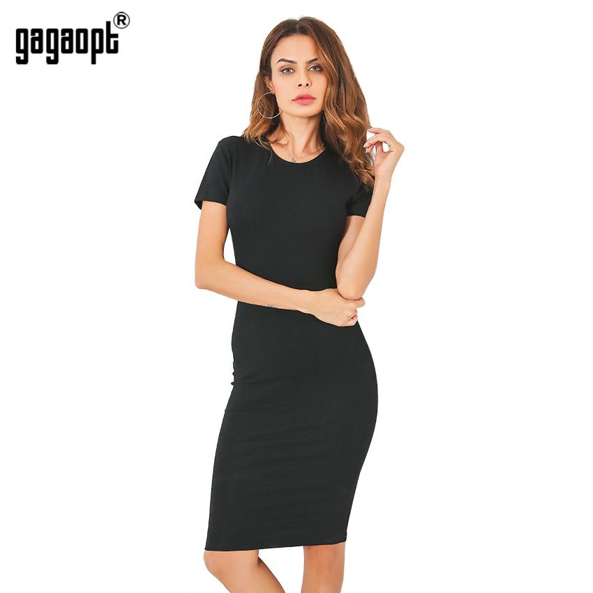 Gagaopt Summer Dresses Women 95% Cotton Knee-Length Skinny Office Dress Short Sleeve Bandage Bodycon Beach Dress Vestidos Robes