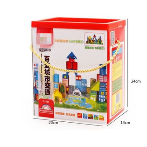 62 Pcs urban transportation Building Bricks Creative Bricks woodenToys For Child Educational enlightenment education toys in Blocks from Toys Hobbies
