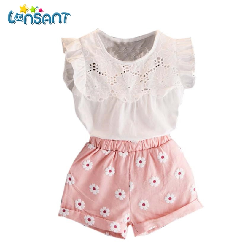 LONSANT New 2017 Summer Girls Roupas Cotton Roupas De Bebe Menina New Kids Clothes T-shirt Vest Tops + Shorts Pants lonsant new 2018 summer baby girls kids girls love heart bow vest t shirt bow plaid shorts set sleeveless round neck clothing