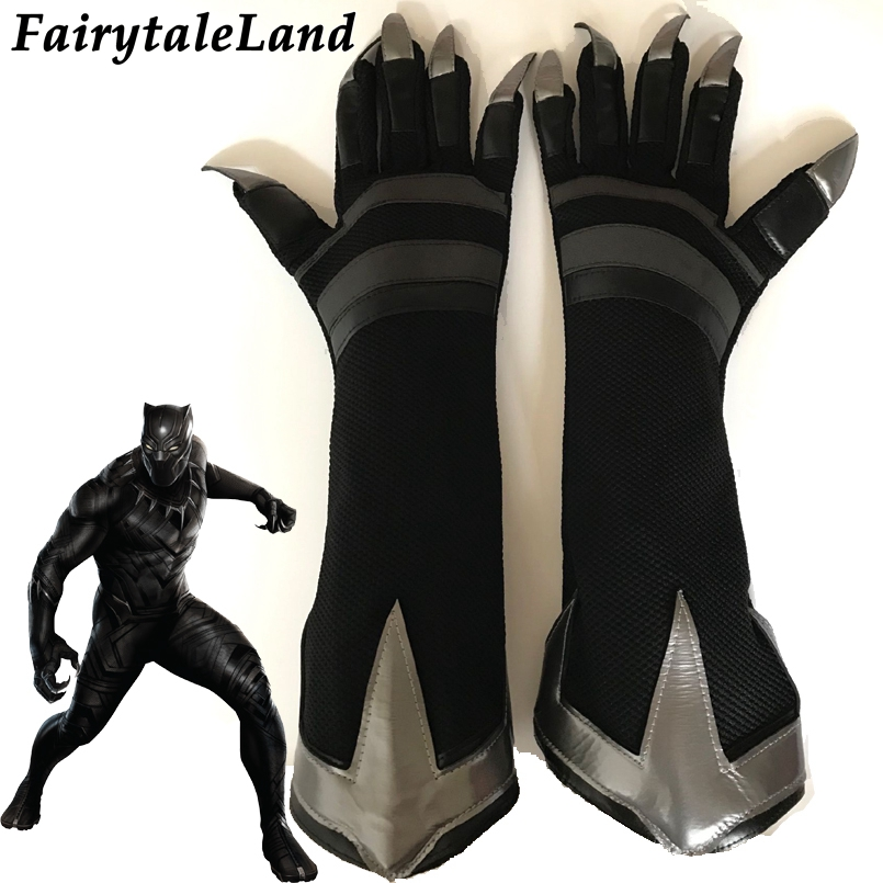 Black Panther Cosplay Accessory Superhero cosplay Black Panther gloves Fancy cosplay gloves cosplay Black Panther accessories