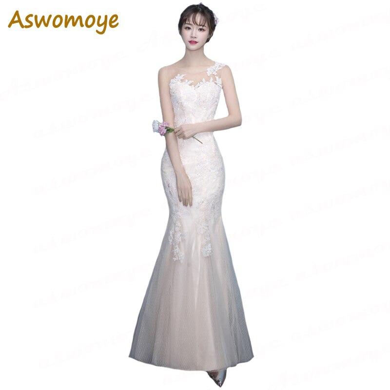 Robe de soirée sirène élégante pour les femmes 2018 nouvelle mode Appliques Floral robes de soirée pure o-cou bal robes formelles