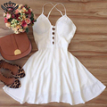 Womens Sexy Dresses Party Night Club Dress 2016 Backless Sleeveless Bandage Dress White Summer Vestidos Mini Dress A-Line Black