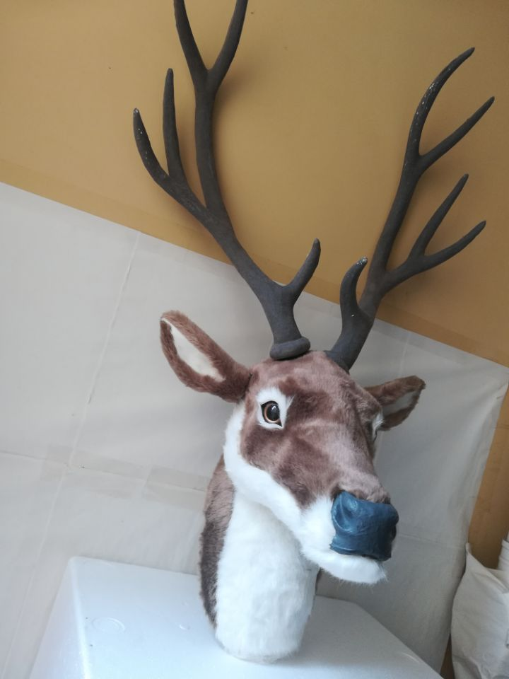 simulation sika deer's head model large 32x25x70cm,plastic&fur wall hangings handicraft toy ,home decoration,Xmas gift w0455