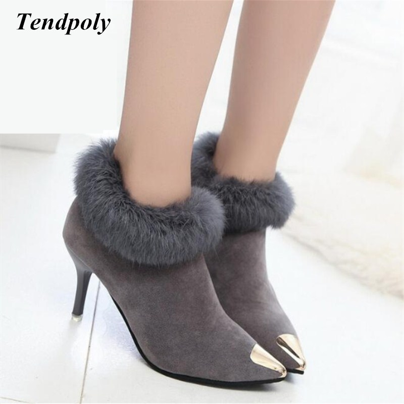 Autumn winter new fashion rabbit fur boots metal pointed wild with fine women's boots hot section of the trend of casual shoes autumn and winter new leather shoes with leather boots and boots with flat boots british classic classic hot wild casual shoes