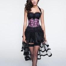 Для женщин сексуальный корсет Overbust в стиле Бурлеск Корсеты и бюстье топ с мини-юбка, юбка-пачка комплект детской одежды на Хэллоуин Красивые платья костюм сексуальные готические корсеты платье