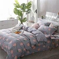 Cute Cartoon Purple Lemon Pattern Bedlinens 100% Cotton Fabric Soft King Size Duvet Cover Set Bedding Set Bed Sheets Pillowcase