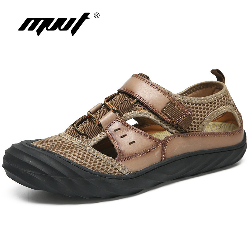 Summer Outdoor Protective Men Sandals Leather + Mesh Breathable Leisure Men Summer Shoes Water Shoes Beach Sandals zeacava men s summer shoes breathable beach sandals