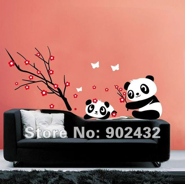 Wall Sticker Cartoon Panda and Flowers and Butterfly Home Decoration Wall Decals JM8243