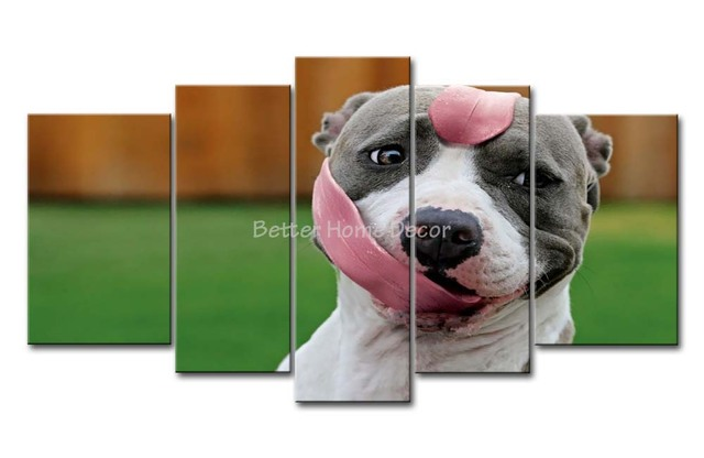 Pitbull Wall Art 3 piece wall art painting pitbull with long tongue in the grass