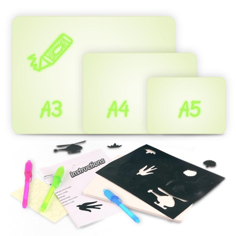 Написание детский планшет для рисования комплект развивающие рисовать с ночник в темноте веселые детские игрушки дети русский язык Серебр...