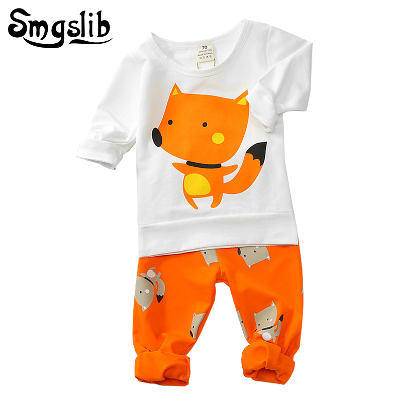 Smgslib Baby girl clothes long sleeve T-shirt+ trousers cotton casual fox baby clothes set new born baby boy outfit tracksuit