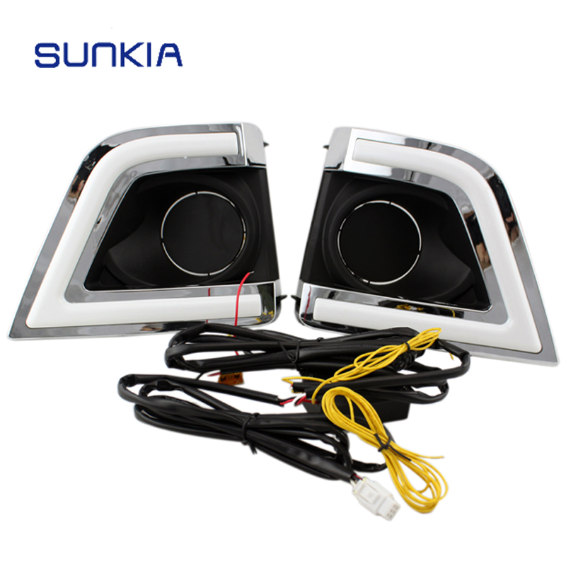 New 2014 2015 LED Daytime Running Light for Toyota Corolla 2014 2015 with Amber Turn Signal Fog Lamp Hole DRL Free Shipping