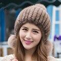Новый осень зима натуральный мех kintted норки шерсть кожа крышки шляпа лиса мяч соболя уха протектор природный подлинная норки шляпы