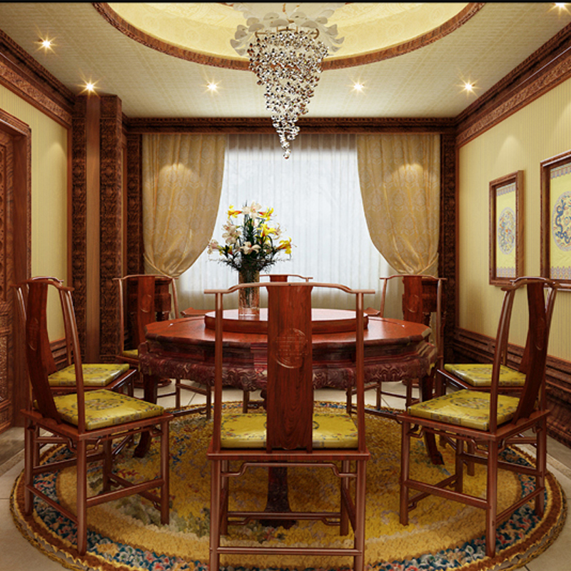Dining Table Set 1 Round table & 6 Armchairs Rosewood Conference Desk Chinese Classical Antique Solid Wood backed Chair Annatto
